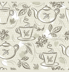 Beige seamless patterns with tea set cup tea vector