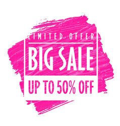 big sale banner template pink vector image
