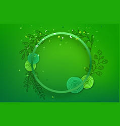 blank green circle frame on green background vector image