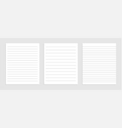 Blank lines note papet sheet set design vector