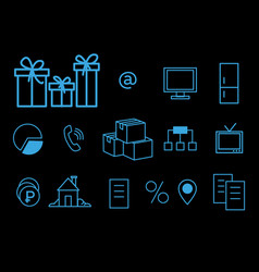 blue line icons on black background thin linear vector image