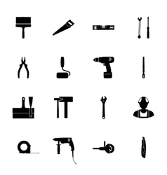 Building silhouettes icons set vector image