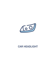 Car headlight concept 2 colored icon simple line vector