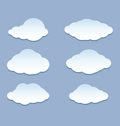 cartoon white clouds set iconson blue for vector image