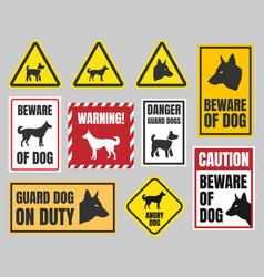 Caution dog signs beware dog vector