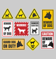 Caution dog signs beware of dog vector