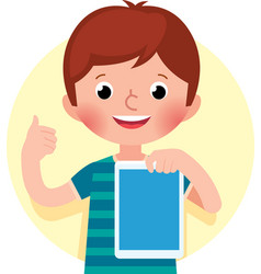 Cheerful cute little boy holding a computer vector