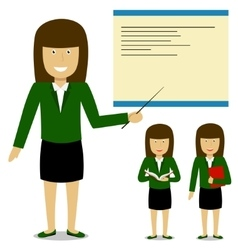 Cheerful teacher on lesson Businesswoman Set vector image