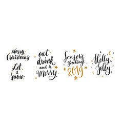 Christmas and new year calligraphy phrases vector