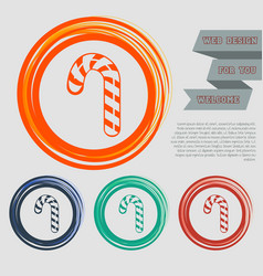 christmas peppermint candy cane with stripes icon vector image