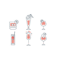 cocktails collection alcoholic and refreshing vector image