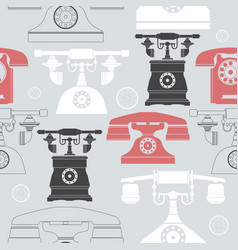 colorful seamless pattern with vintage phones vector image