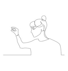 Continuous one line woman hold and look at the vector