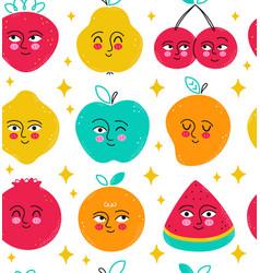 Cute funny fruits seamless pattern cartoon vector