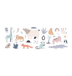 cute jungle animals in scandinavian vector image