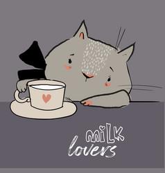 cute little white cartoon kitten with tea vector image