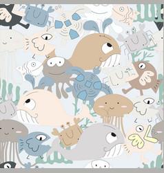 Cute ocean animal cartoon seamless pattern vector
