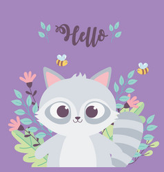 cute raccoon bees animal flowers branch vector image
