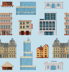 Different city public buildings houses set vector