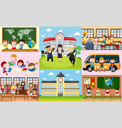 Different scenes at school with students vector