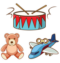 Different toys on white background vector