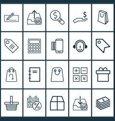 E-commerce icons set with paper bag parcel vector