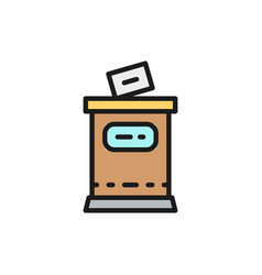 Election put voting paper in ballot box flat vector
