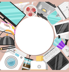 electronic household appliances round pattern vector image