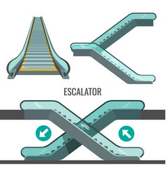 Escalator moving staircase with arrows showing way vector
