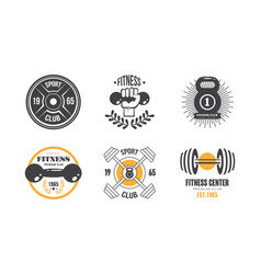 fitness club vintage logo set retro badge for vector image