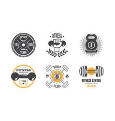 fitness club vintage logo set retro badge vector image