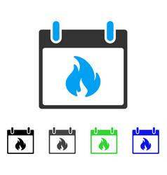 Flame calendar day flat icon vector