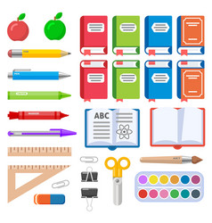 Flat books pens brush markers and crayons vector