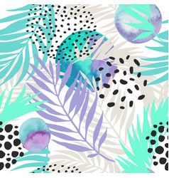 floral and geometric background with palm leaves vector image