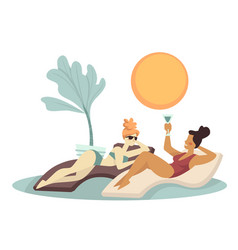 Girlfriends sunbathing in swimsuits and laying on vector