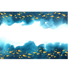 gold color school fish swimming on navy blue vector image