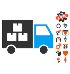 Goods transportation car icon with valentine bonus vector