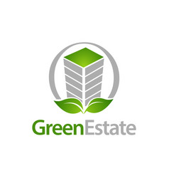 green estate circle building with leaf icon logo vector image
