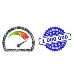 Grunge 1 000 000 seal and square dot mosaic speed vector