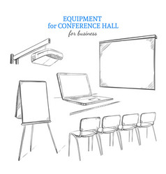 hand drawn business presentation equipment set vector image