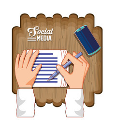 hands with documents and smartphone social media vector image