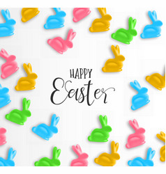 happy easter card of colorful candy bunny vector image