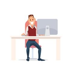 Happy man work in office vector