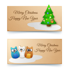 holiday winter horizontal banners vector image