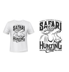 Hunter club t-shirt print african safari hippo vector