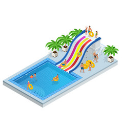 isometric aqua park with water slides water pool vector image