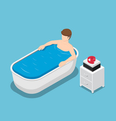 isometric businessman take a bath and relaxing in vector image