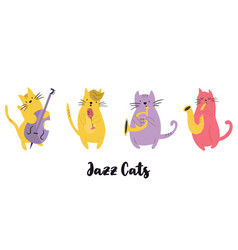 jazz band cats playing musical instruments vector image