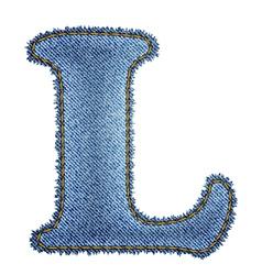 Jeans alphabet Denim letter L vector image