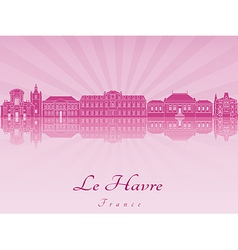 Le Havre skyline in purple radiant orchid vector image